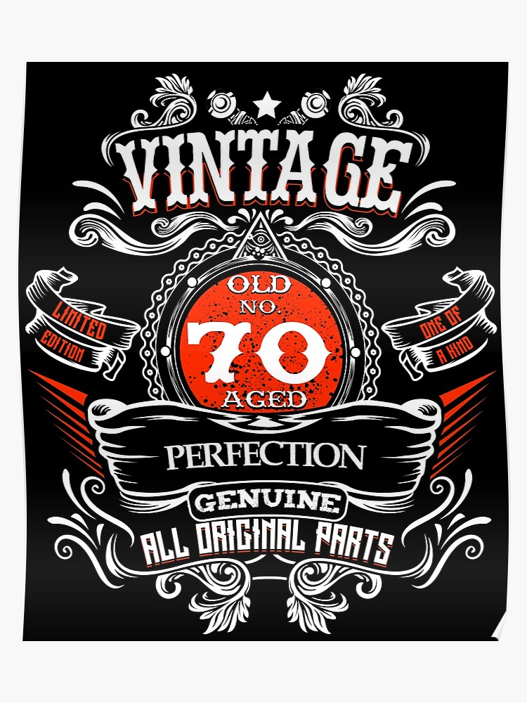 Vintage 70th Birthday 1948 70 Years Old Gift T Shirt Poster