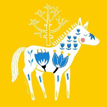 Folk horse on yellow by VeeraNoir