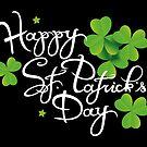 Happy St Patricks Day Logo mit Kleeblättern von Christine Krahl