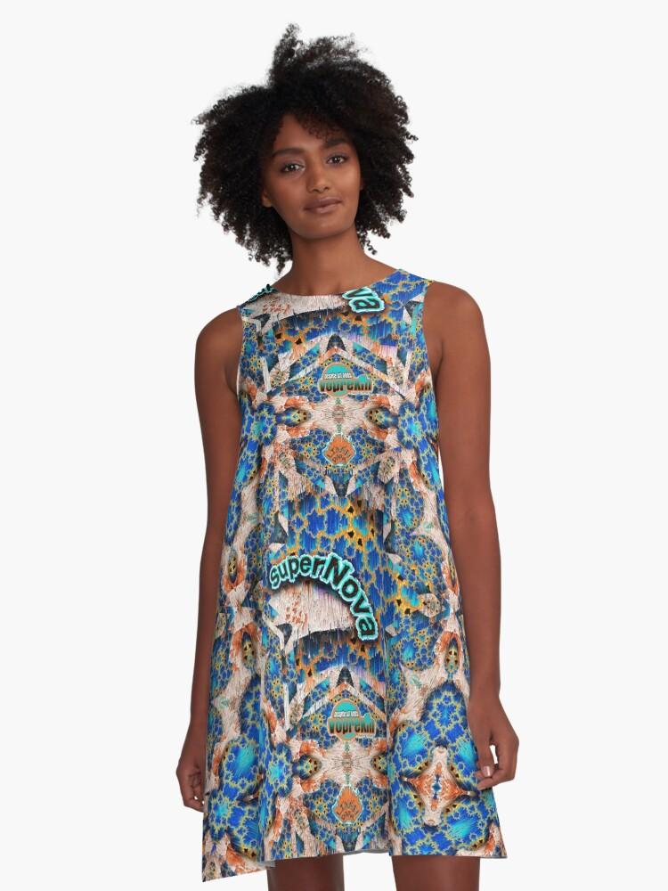 SUPER NOVA colorful fractal art A-Line Dress Front