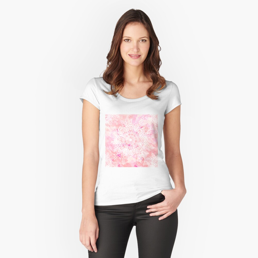 Queen Starring of Mandalas Pink Fitted Scoop T-Shirt