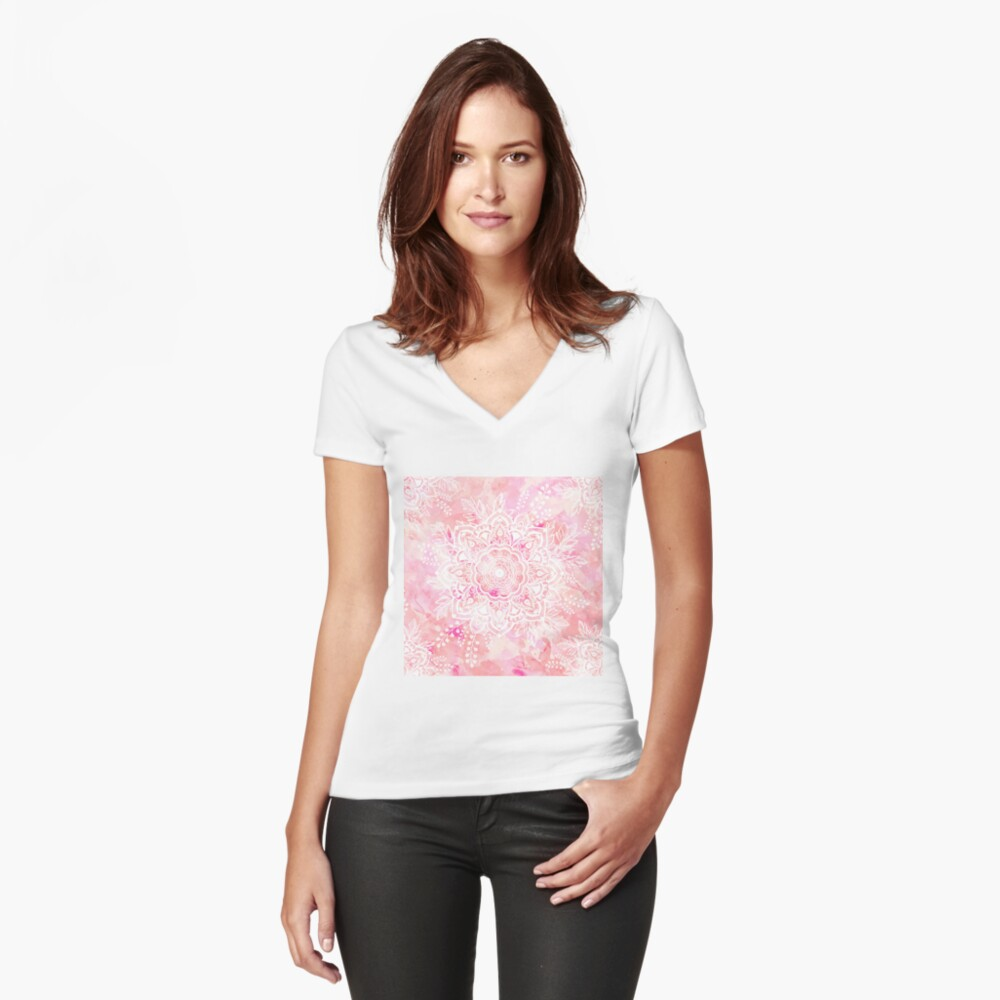 Queen Starring of Mandalas Pink Fitted V-Neck T-Shirt