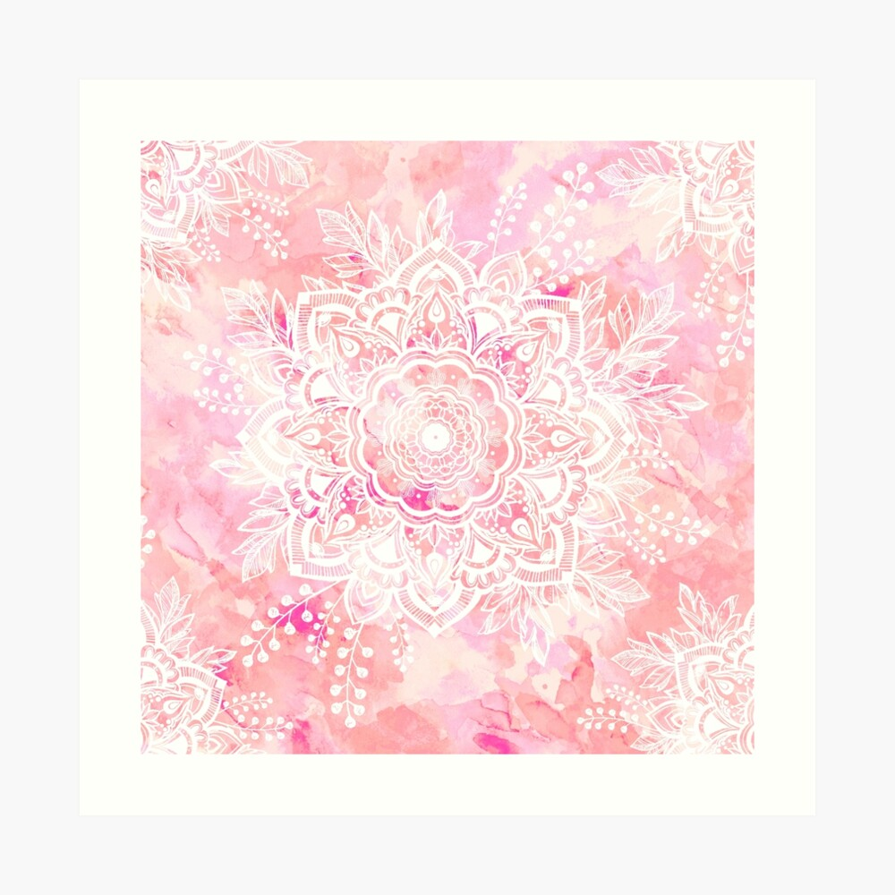 Queen Starring of Mandalas Pink Art Print