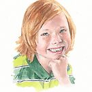 red haired grandson watercolor by Mike Theuer