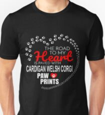 The Road To My Heart Is Paved With Cardigan Welsh Corgi Paw Prints - Gift For Passionate Cardigan Welsh Corgi Dog Owners Unisex T-Shirt