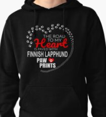 The Road To My Heart Is Paved With Finnish Lapphund Paw Prints - Gift For Passionate Finnish Lapphund Dog Owners Pullover Hoodie