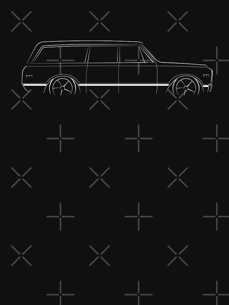 1972 Suburban - profile stencil, white by mal-photography