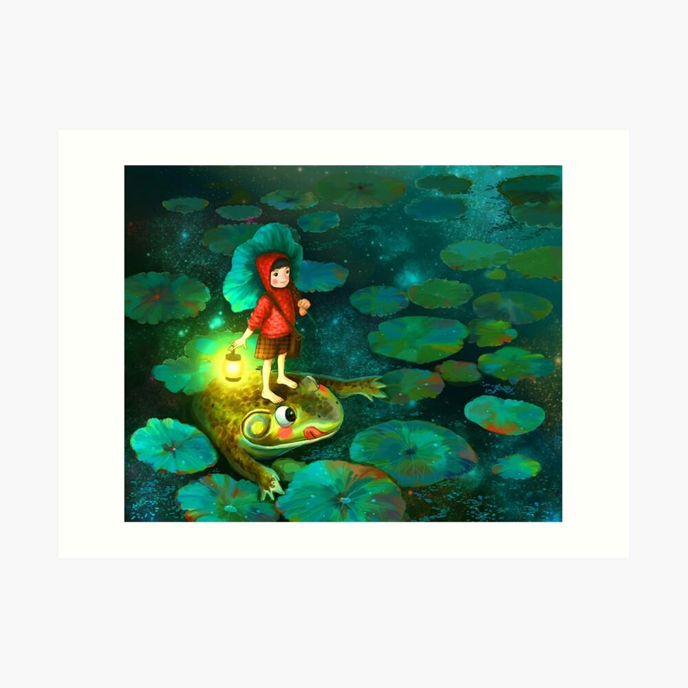 La niña en el estanque con la rana Lámina artística