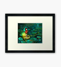 The little girl in the pond with frog Framed Print
