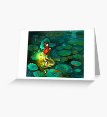 The little girl in the pond with frog Greeting Card