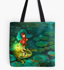 The little girl in the pond with frog Tote Bag