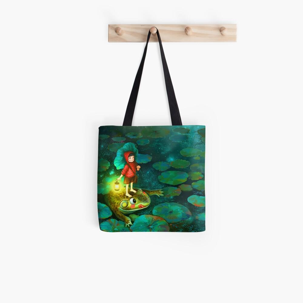 La niña en el estanque con la rana Bolsa de tela