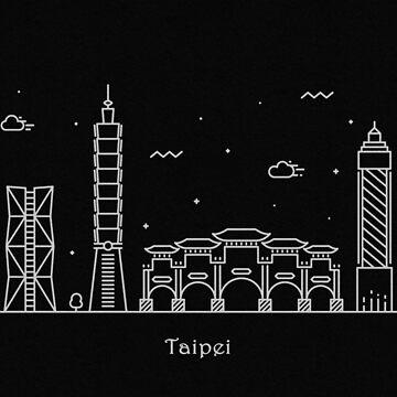 Taipei Skyline Minimal Line Art Poster by geekmywall