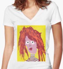 Fille - Martin Boisvert - Faces à flaques T-shirt col V femme