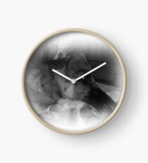 Black and white German Shepherd portrait Clock