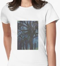 Tree Landscape Painting Drip Effect Women's Fitted T-Shirt