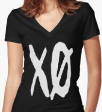 XO Slash [White] Women's Fitted V-Neck T-Shirt