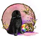 A Newfie and paintbrushes  by Patricia Reeder Eubank