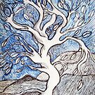 Tree – In Black, White, and Blue Ink by Ivana Redwine