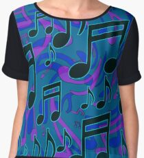 Music Notes Lively Expressive Blue Green Chiffon Top