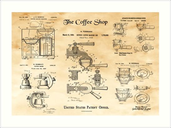 The coffee shop vintage patent blueprint art art prints by the coffee shop vintage patent blueprint art by madebydesign malvernweather Choice Image