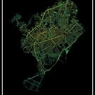 Barcelona, Spain Colored Street Network Map Graphic by ramiro