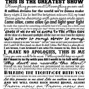 The Greatest Showman Typography (black) by GreysGirl