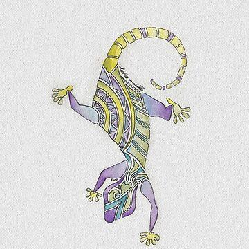 Watercolor Painted Mosaic Gecko by vanderdys
