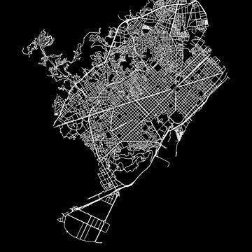 Barcelona, Spain Street Network Map Graphic by ramiro