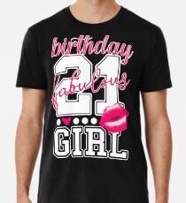 Fabulous Birthday Girl 21. Geburtstag pink Kiss Männer Premium T-Shirts