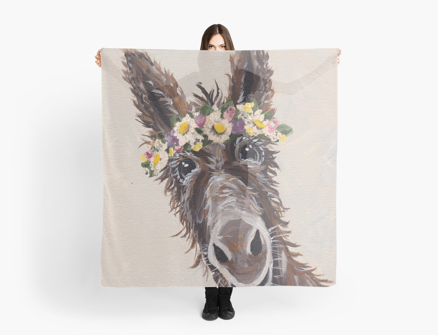 Cute Donkey With Flower Crown Art Scarves By Leekellerart Redbubble