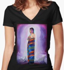 Purple Planets, Connection Women's Fitted V-Neck T-Shirt