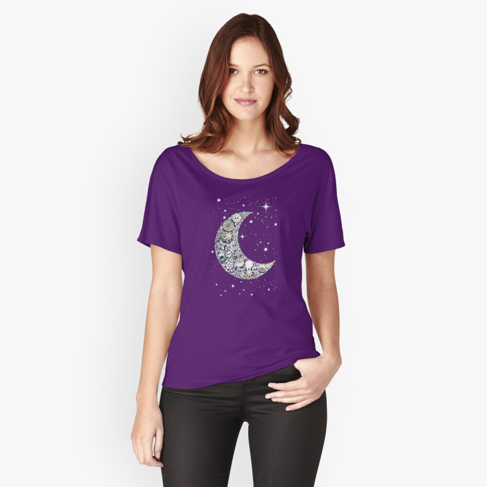 Moon // vintage button moon and stars // Venus // Womens Women's Relaxed Fit T-Shirt Front