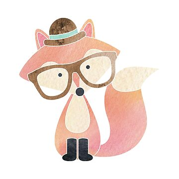 Watercolor Hipster Fox by heartlocked