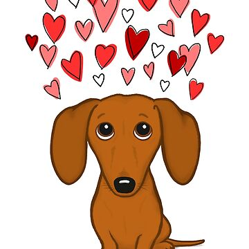 Cute Dachshund with Hearts by ShortCoffee