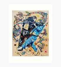 Jitsu-Blue - Original Painting BJJ Art By Kim Dean Art Print