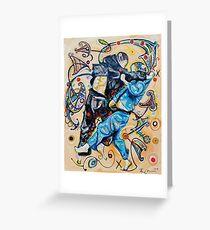 Jitsu-Blue - Original Painting BJJ Art By Kim Dean Greeting Card