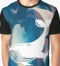 Cute, Beautiful, Abstract Blue White Humpback Whale Silhouette Animal Marine Mammal Big Fish Underwater Wildlife Graphic Design Background Vector Illustration For Poster, Wallpaper, Card and Shirt. Graphic T-Shirt