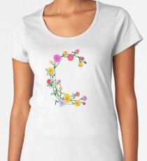 Cute Elegant Floral Letter C Women's Premium T-Shirt