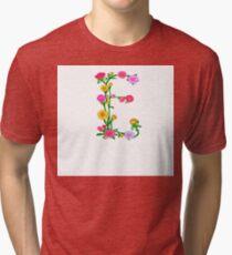 Elegant Colorful Floral Letter E Tri-blend T-Shirt