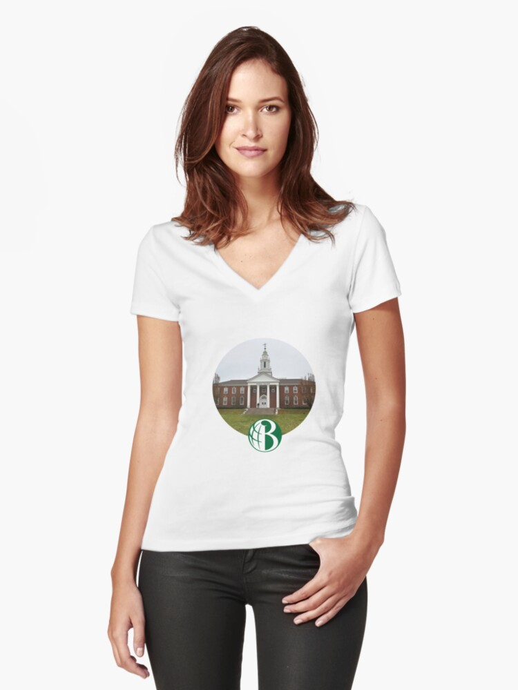 'Babson College (Circular Design w/ Logo)' Women's Fitted V-Neck T-Shirt by  aditya023