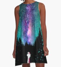 Calvin and hobbes galaxy night A-Line Dress