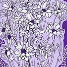 Daisy Chrysanthemum, violet and White, Floral Art by clipsocallipso