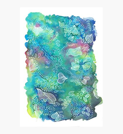 Water colors - Blue and Green corals Impression photo
