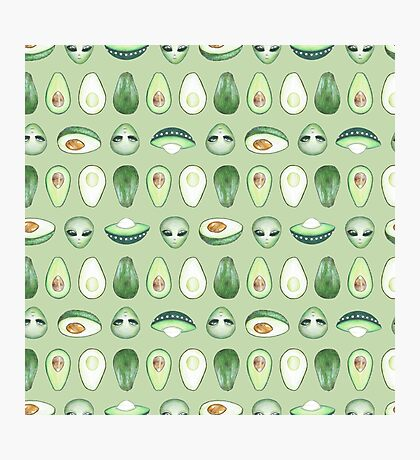 Avocados and aliens pattern Impression photo