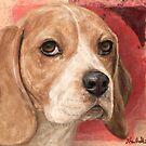 Gorgeous Beagle Painting on Warm Red Background by ibadishi