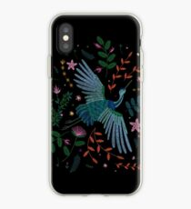 embroidered bird iPhone Case