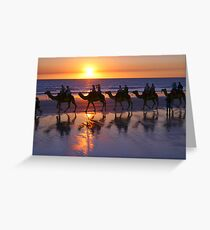 Cable Beach Camels At Sunset Greeting Card