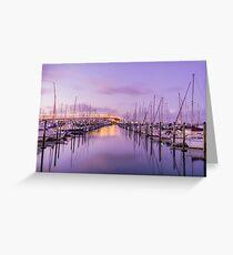 Purple sunset at Westhaven Marina, New Zealand Greeting Card