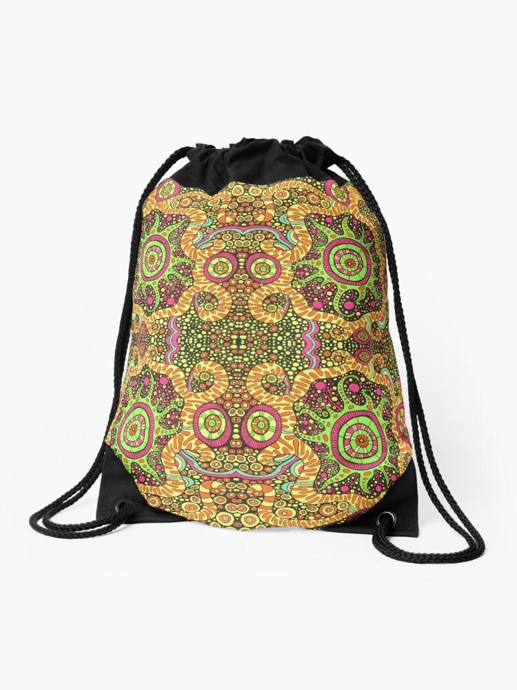 d654d97a7da0 Psychedelic kaleidoscope shamanic art   Drawstring Bag
